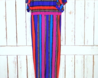 Vintage 70s Lucie Ann Beverly Hills striped cotton jumpsuit/Dolman sleeve jumpsuit/colorful striped jumper