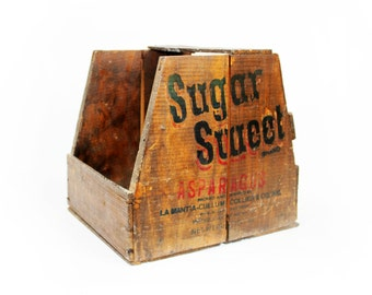 Vintage Wood Crate:  Sugar Sweet Asparagus Produce Crate