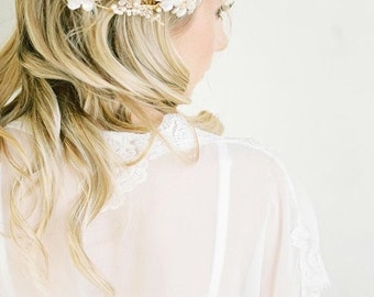 Pearl Wedding Headpiece, Ivory Flora Hair Piece, Crystal Bridal Headpiece, Ivory Bridal Headpiece TOTTI