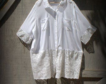 Upcycled, Refashioned, Remade, Repurposed, Tunic, Boho, White, Size 3XL