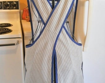 Old Fashioned Apron with a Crossover Back in Taupe and Navy Ticking