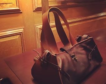 Leather Handbag Large Brown Leather Custom Handbag Purse with Zipper Handmade in Bordeaux Leather