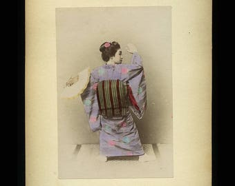 Beautiful Tinted Albumen Photo of Japanese Woman Dancing Geisha - Antique 1890s