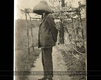 Unusual Vintage Photo - Prisoner with Head Hooded - China 1910s