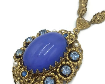 Blue Glass Cabochon Pendant Necklace Signed West Germany with Blue Rhinestones on Ornate Gold Tone Vintage Jewelry