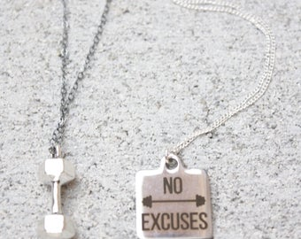 Exercise Jewelry, No Excuses Tag or Dumbbell Necklace, Sterling Silver, Ready to Ship