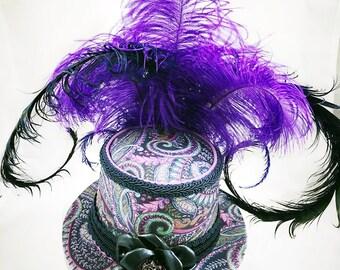 Purple Mini Top Hat, Mini Top Hat, Steampunk Hat, Festival Hat, Burlesque Hat, Burning Man Hat, Costume Hat, Wedding Hat, Victorian Wedding