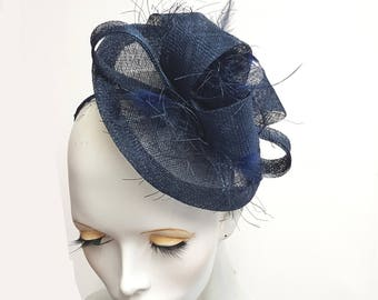 Dark navy blue saucer fascinator in sinamay and feather headband fixing