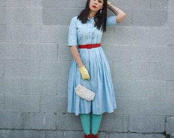 1960's Light Blue Pleated Shirt Dress