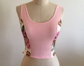 Vintage Pink Crop Tank with Floral Print Side Panels - Size Small