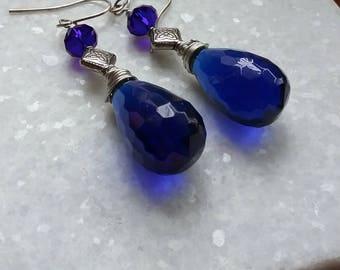 Blue Quartz Teardrop Briolette and Crystal Earrings // Handcrafted Sterling Ear Wires // Gemstone Earrings // Glowing Blue Earrings