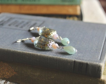 Sparkling olivine, silver tone, pink, and ice blue glass bead earrings, Cold Winter Winds