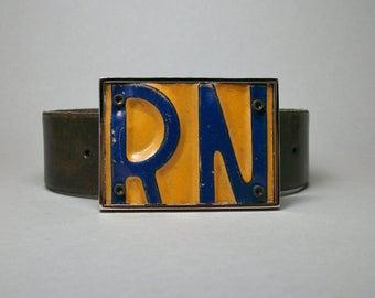 Belt Buckle License Plate RN Nurse Unique Handmade Repurposed Gift for Men Women
