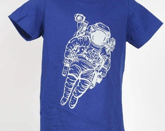 Astronaut on Blue American Apparel Kids T Shirt 2T, 4T, 6T, 8Y Ready To Ship!!!!