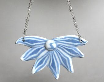 """Porcelain Blue Flower Necklace """"BlueLily"""", Handmade Porcelain pendant necklace, gift for her, Blue flower chain necklace, Spiritual Necklace"""