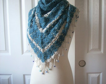 Valentines day gift, Free shipping, gift under 35, Handknit Triangle Large Shawl - scarf - collar - Capelet - Cowl - Mother's day gift