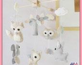 Baby Mobile, Nursery Decor, Woodland Mobile, Animals Mobile, Ceiling Hanging Mobile, Neutral Mobile, Sandstone Grey
