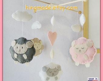 Baby Mobile,Baby Crib Mobile, Nursery Decor,Sheep Mobile,Custom Mobile,Sleepy Sheep Farm,Ceiling Hanging Mobile