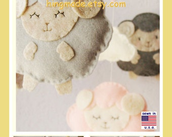 Baby Mobile,Lamb Baby Mobile,Baby Cot Mobile,Sheep Mobile,Baby Shower Gift,Sleepy Sheep Farm,Nursery Decor,Custom Mobile
