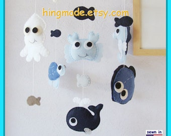 Baby Mobile, Under the Sea Mobile, Sea Creatures Mobile, Crab, Octopus, Seahorse, Turtle,Baby Blue White, Match Bedding Mobile