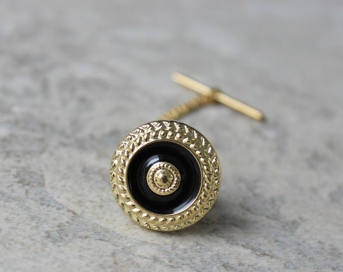 Tie Tack Pins, Mens Gifts, Gifts for Him, Mens Suit and Tie Accessories, Black and Gold Tie Pin, Mens Tie Pin