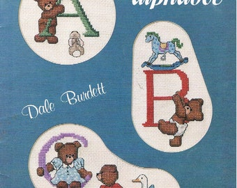 Counted Cross Stitch Pattern Chart ~ Alaphabet Designs Featuring Teddy Bears by Dale Burdett