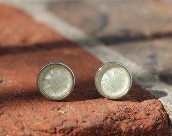 New! Handmade Custom Solid Pewter & Resin Cufflinks in Pearl White - Husband, groom, anniversary, bride, wedding