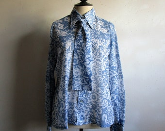Vintage 1980s Sheer Floral Blouse Blue White 80s w- Necktie Plus Size Blouse Large
