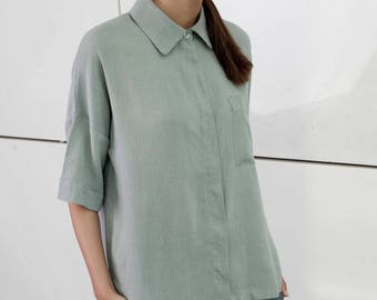 Gray loose fit, Summer blouse, minimal, short sleeves, buttoned down shirt, casual blouse, drop shoulder shirt, collar neck, casual top