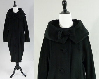 50s Black Coat - French Wool - Lilli Ann - Big Collar w/ Bow - Blin + Blin - Peggy Shoppe - Vintage 1950s - M L