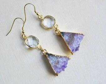 Amethyst Earrings, Triangle Earrings, Geometric Earrings, Triangle Amethyst Earrings, Quartz Crystal Earrings, Boho Earrings, Gold Earrings