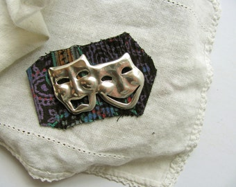 Vintage Comedy Tragedy Pin Brooch Sterling Silver 925 Mexico Theater Masks Actor Drama Pin Jewelry Laugh and Cry Make Sense When on Stage