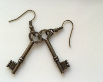 Bronze Key Earrings, Skeleton Key Earrings, Long Bronze Earrings