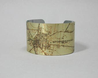 Murfreesboro Tennessee Cuff Bracelet Unique Hometown Graduation Gift for Men or Women