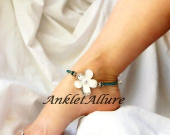 Beach Body Jewelry White Anklet Flower Ankle Bracelet Beach Anklet Crystal White Ankle Bracelet