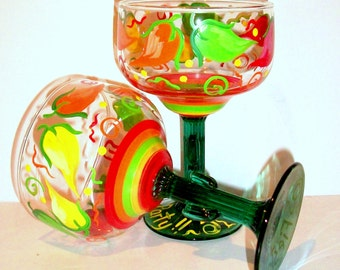 Margarita Glasses Chili Peppers Swirls Polka Dots Hand Painted Set 2-16 oz. Cinco De Mayo Mexican Wedding Gift Red Green Yellow Orange