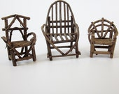 Primitive Twig Chair Collection Rustic Stick Furniture Adirondack Style Bentwood Chair Set Fairy Garden Furniture Lodge Cabin Decor