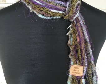 Purple, Green & Grey Scrappy Necklace Scarf - Lagoon - Handmade