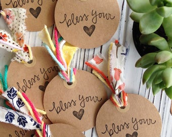 Bless Your Heart Tags (Set of 4/Handmade) - Gifts, Packaging, Thank you, Gift Wrap, Round Tags, Cardstock, Supplies, Favors, Hostess