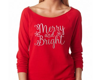Christmas Shirts, Women's Christmas Shirts, Merry And Bright Shirt, Christmas Sweatshirt, Christmas Shirts for Women