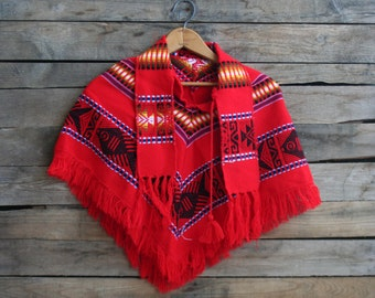SUPER SALE - Vintage Children's Red Poncho or Cape with Collar