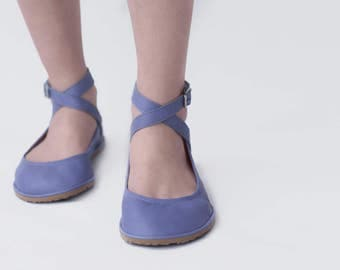 Pax in Lilac- Criss-Cross ankle strap leather ballet flats - CUSTOM FIT