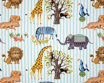 CIRCUS ESCAPEES in Aqua Blue - Michael Miller Cotton Quilting Fabric  - By the Yard