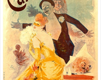 Carnaval 1892 - by French artist Jules Cheret - Vintage French print  - Art Nouveau poster - French Poster