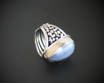 Blue Lace Agate Dual Sided Ring Contemporary Design Linear Studded Sterling Silver One of a Kind