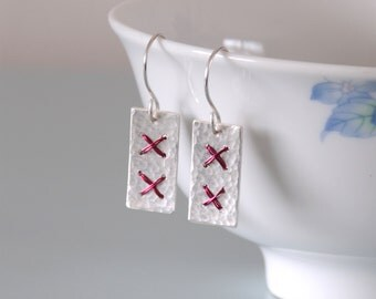 Red Metalwork Cross Stitch Earrings - Sterling Silver Wire Wrapped Hammered Drop Dangle Jewellery Gift for Her by Emma Dickie Design