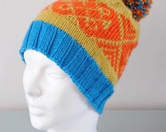 Orange Fair Isle Beanie Hat - Blue Yellow Modern Knitted Merino Wool Pom Pom Unisex Winter Accessory Gift for Him Her by Emma Dickie Design