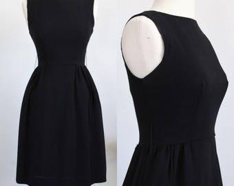 Vintage 1960s Black Dress / Kelly Arden 60s Mod Dress / Little Black Dress LBD / Cocktail Dress / Boat Neck / Crepe