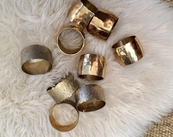 vintage set of glam brass napkin ring holders