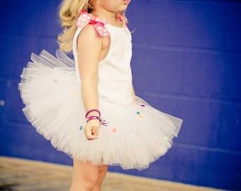 Polka Dot Tutu | Candy Land Tutu | Bubble Gum Tutu | Bubblegum Tutu | Gumball Tutu | Gum Ball Tutu | Candy Land Birthday Tutu | White Tutu